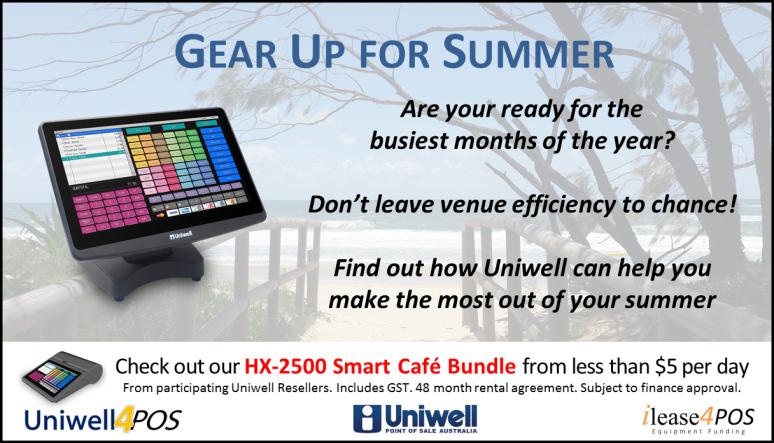 Gear up for summer promotion Uniwell POS for cafes bars bistros restaurants